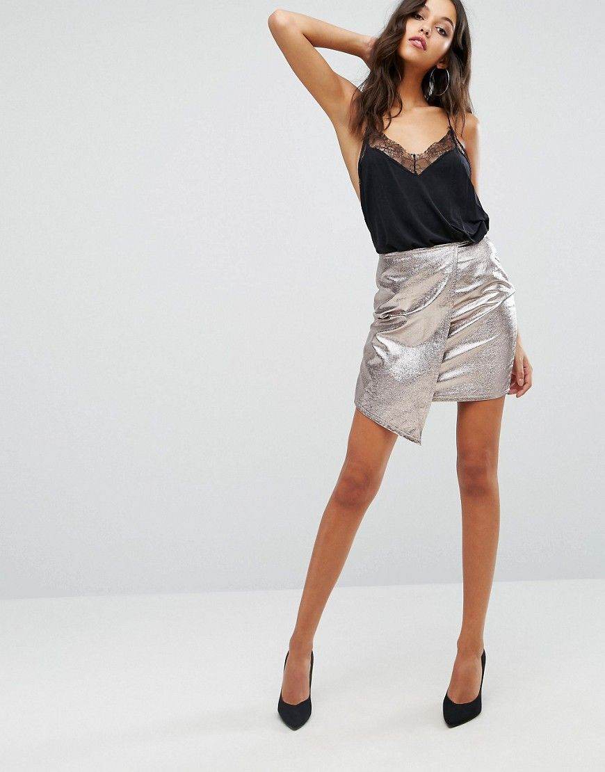 79bc308a2 Boohoo Metallic Wrap Front Mini Skirt - Silver | Shop the look ...