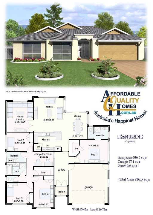 Affordable Quality Homes Lesmurdie 226sqm Like Ht Option Combine Bed3 4 For Office My House Plans Modern Bungalow House Beautiful House Plans