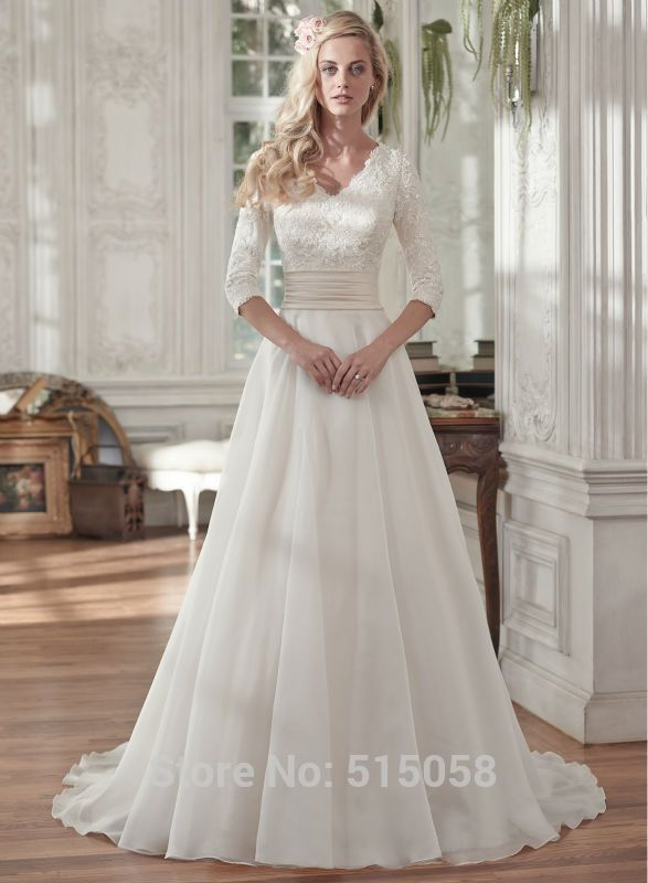 58dc835233b7 Modest Lace 3/4 Sleeves V Neck Chiffon Princess Wedding Dresses Vintage Bridal  Wedding Gowns 2016 Muslim Bride Dress(China (Mainland))