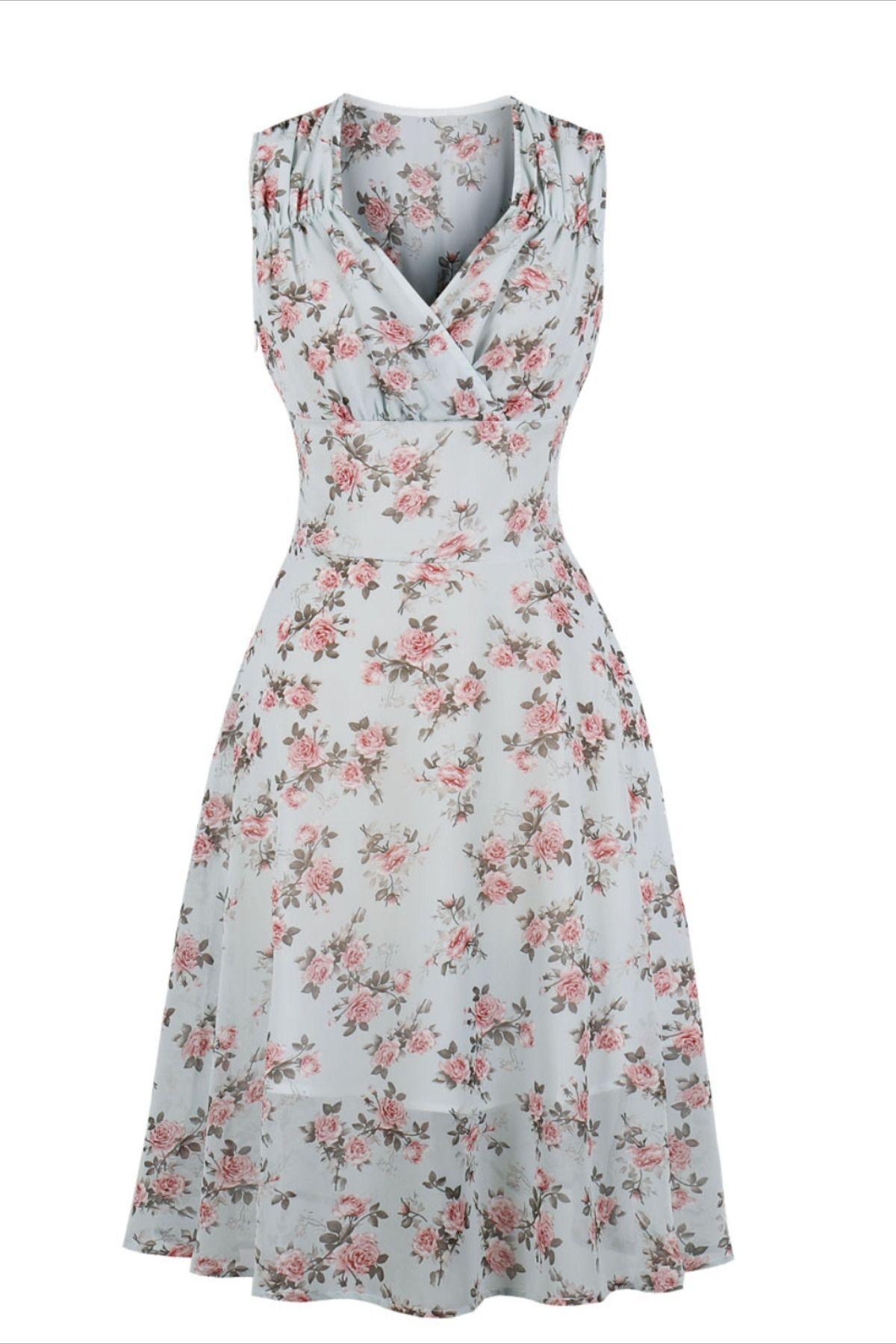 V Neck Fitted Floral Vintage Dress