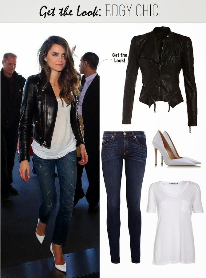 Edgy Chic - Motorcycle Jacket, White Tee, Blue Jeans, and White Heels.