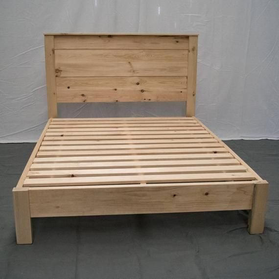 Best Unfinished Farmhouse Platform Bed W Headboard Traditional 640 x 480