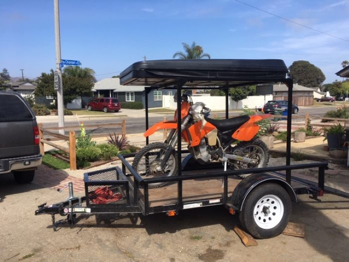 This Is Dusty S Utility Trailer Setup With A Tall Diy No Weld Rack For Hauling Dirt Bikes And His Tent Trailers For Sale Roof Top Tent Motorcycle Tent Trailer