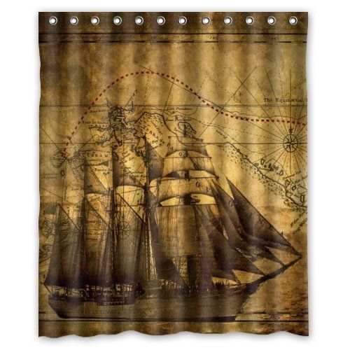 I Manggo High Quality Mouldproof Bath Curtain Print Vintage Rustic