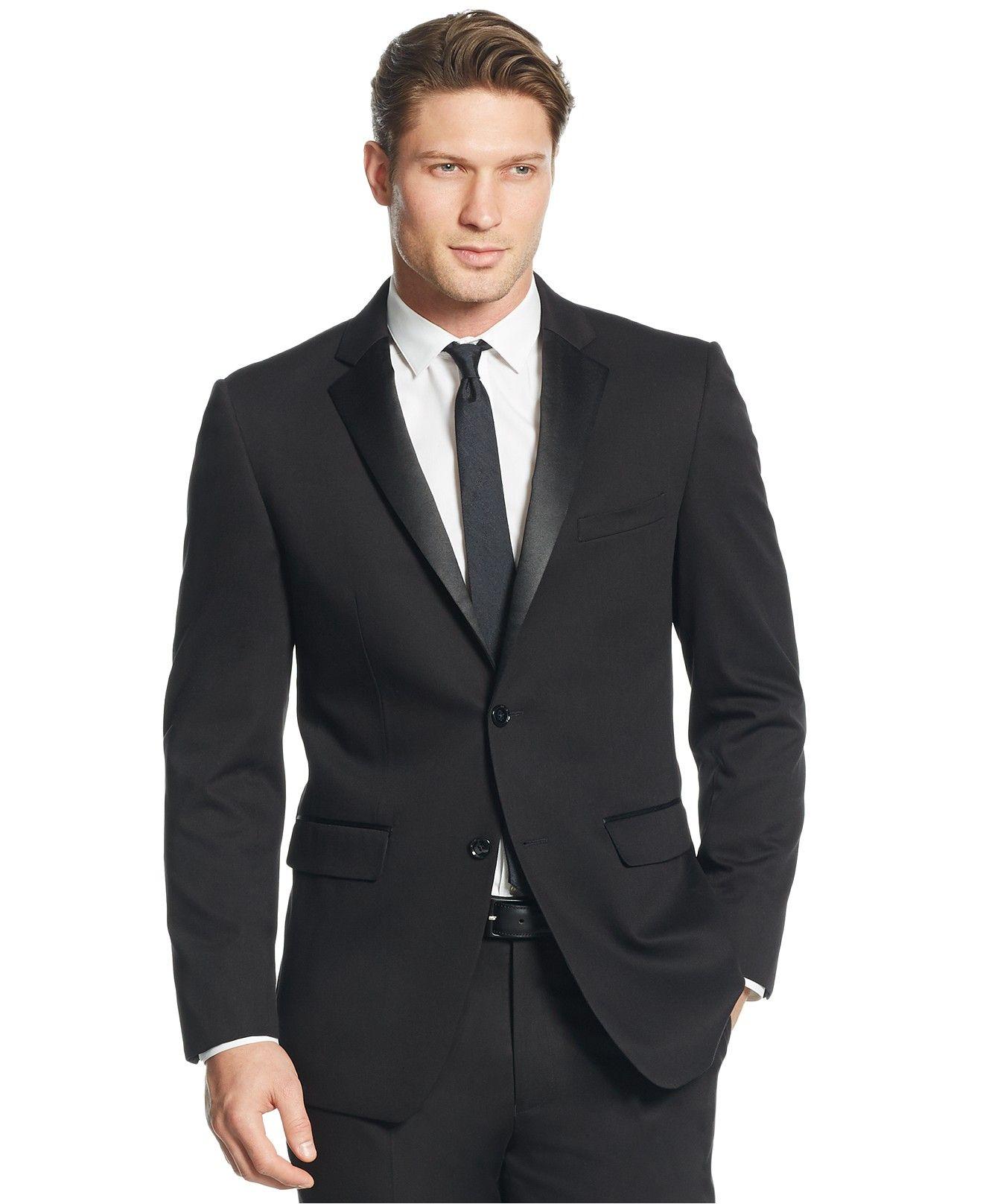 Perry Ellis Black Solid Slim-Fit Tuxedo - Suits  amp  Suit Separates - Men b3beda2de