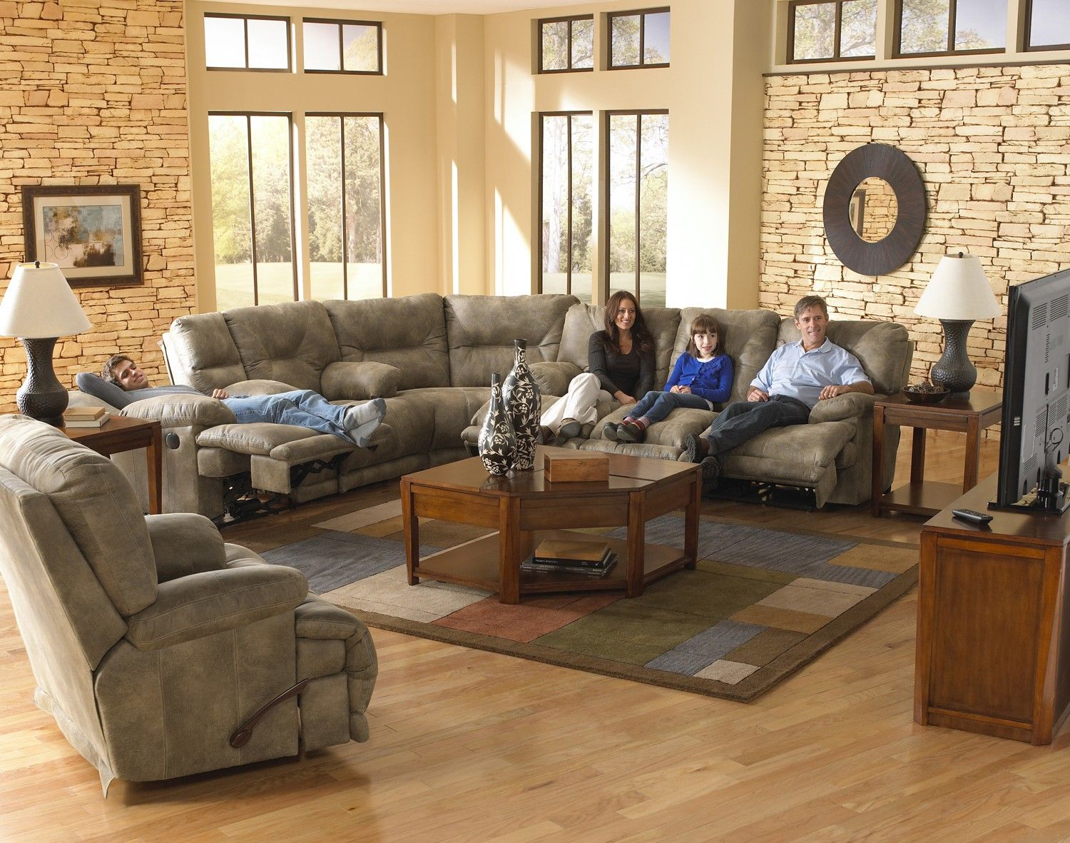 Voyager Lay Flat Reclining Living Room Set Sectional