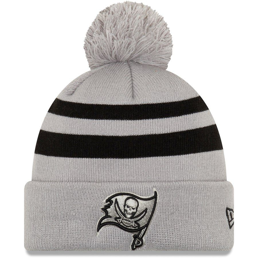 Men s Tampa Bay Buccaneers New Era Gray Rebound Pom Cuffed Knit Hat ... 5a8db2aba