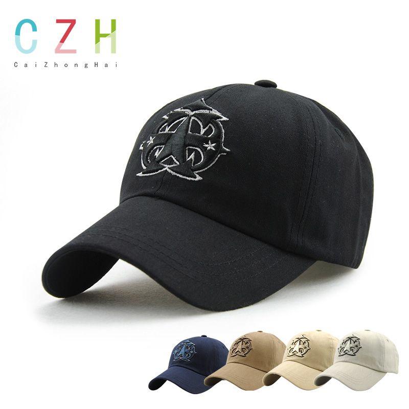 35e21817757 CaiZhongHai   SK15 Black Adjustable Baseball Caps Cotton Five-pointed Star  Embroided Snapback Caps Men Women Snapback hat Borra
