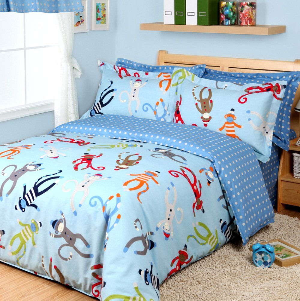 Amazon Com Cartoon Monkey Duvet Cover Set Sky Blue Boys Bedding