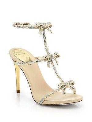 c94bbb5aca6329 Rene Caovilla Strass Swarovski Crystal Bow Sandals