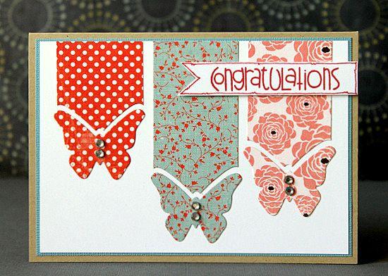 Congratulations #card #butterflies #punch