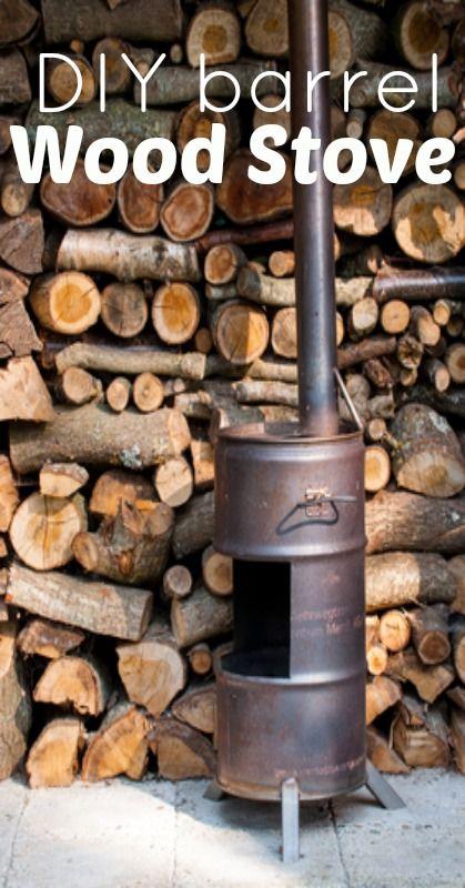 homemade wood burner made off an old barrel saving money