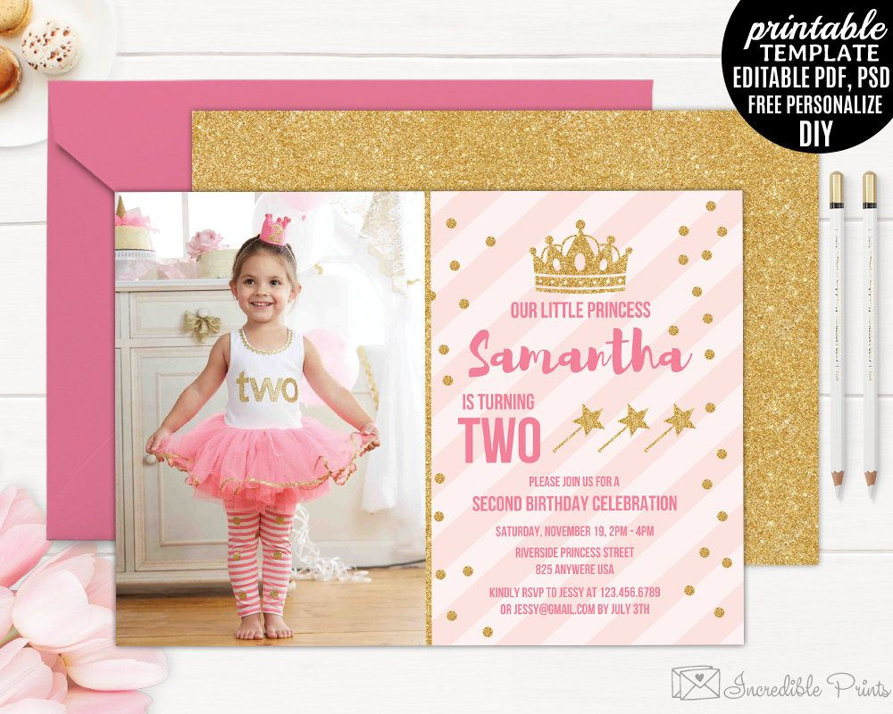 Second Birthday Invitation Template Printable Little Princess Pink And Gold Girl Invite Download PDF PSD By