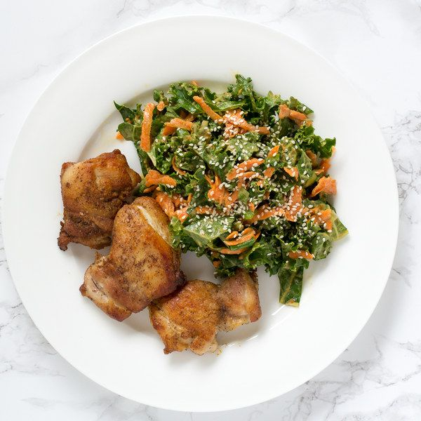 Pan-Fried Chicken Thighs With Thai-Inspired Kale, Carrot