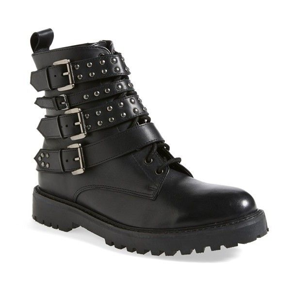 Topshop 'Apply' Lace-Up Biker Boot