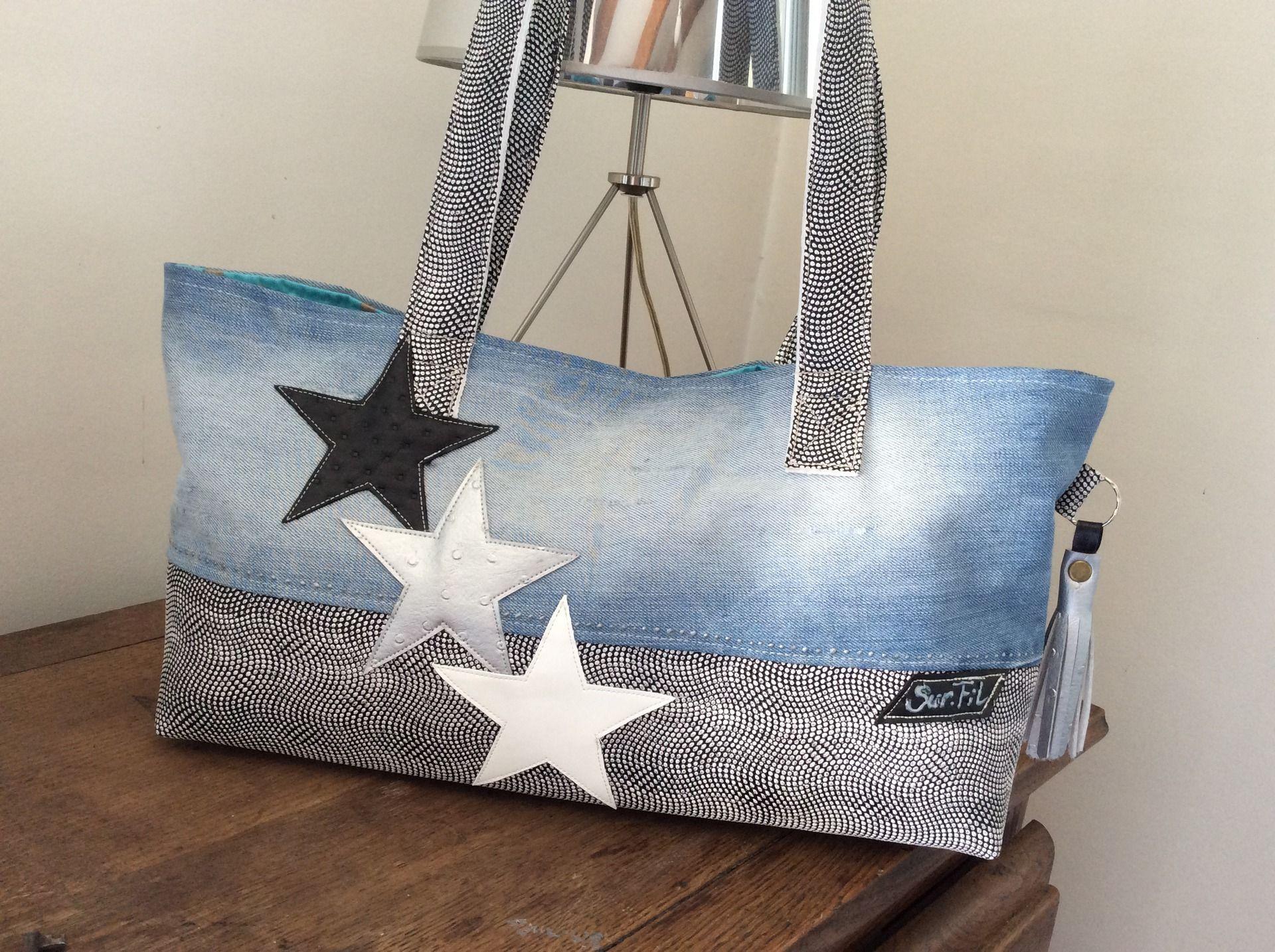 sac be star en simili noirblanc et argent et jean bleu clair sacs main sac en jean. Black Bedroom Furniture Sets. Home Design Ideas