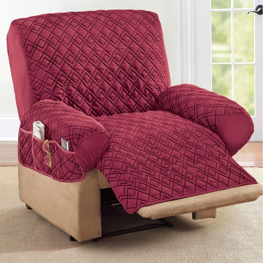 Collections Etc Diamond Shape Quilted Stretch Recliner Cover With Storage Pockets Burgundy Walmart Com In 2020 Recliner Cover Recliner Rocking Chair Cushions
