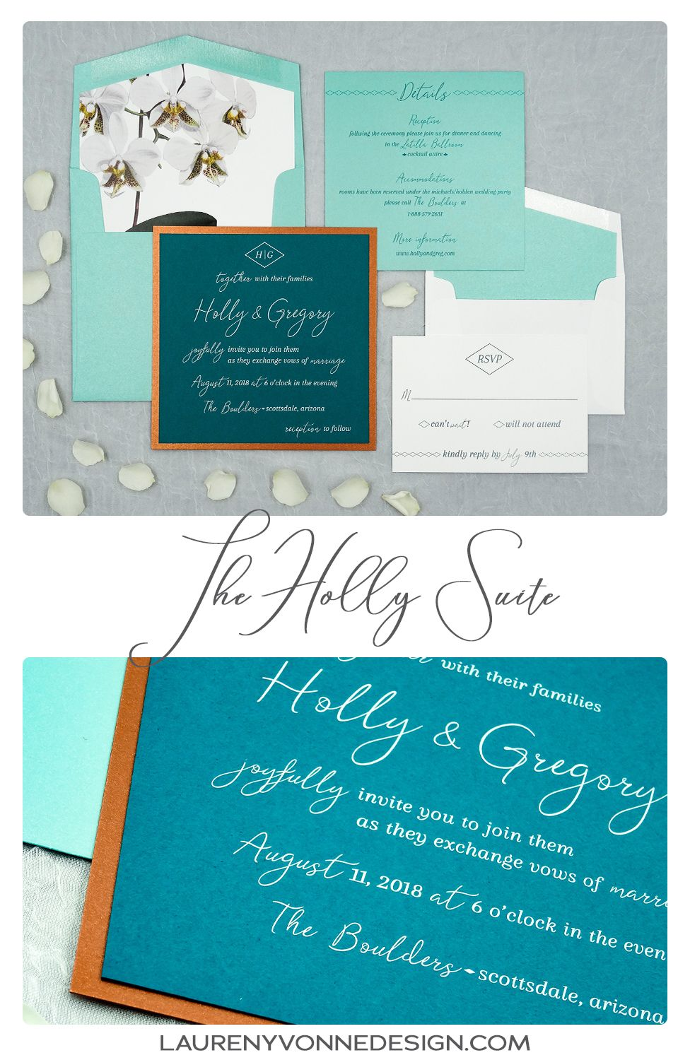 Teal and copper modern monogram square wedding invitation. Elegant ...