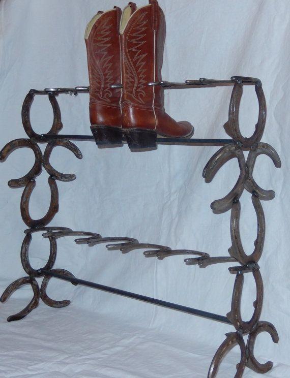 Natural Horseshoe Boot Rack