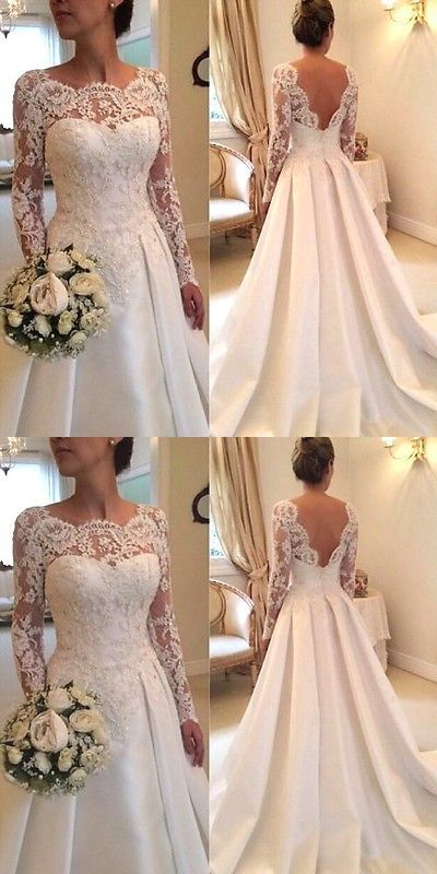 Wedding Dresses: New White/Ivory Lace Wedding Dress Bridal Gown Custom Size: 4 6…