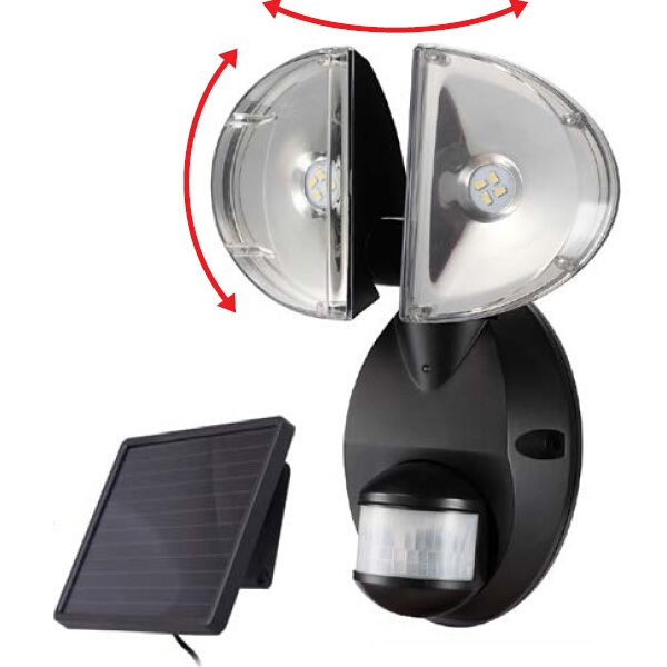 Solar Wall E 4w Twin Head Spot Security Light With Pir Motion