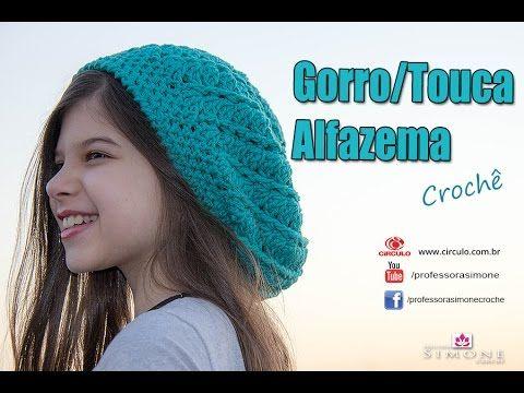 FIO ALFAZEMA OU MOLLET CÍRCULO Gorro de Crochê Alfazema - passo a passo -   ProfessoraSimone - YouTube 40f176d0c70