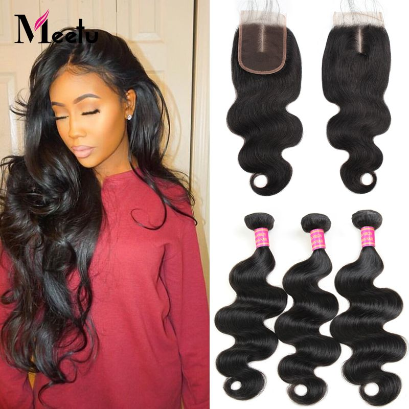 100 Malaysian Hair Bundles With Closure Non Remy Online Retail