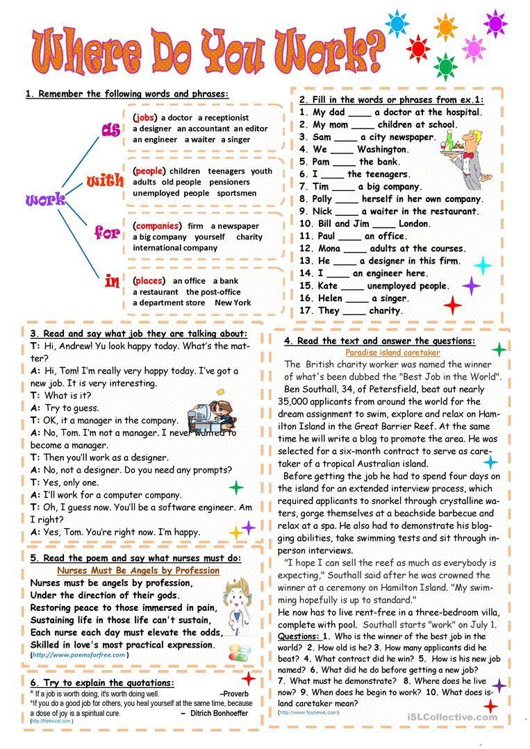 Where Do You Work Worksheet Free Esl Printable Worksheets Made By Teachers English Teaching Resources English Teaching Materials English Grammar Quiz