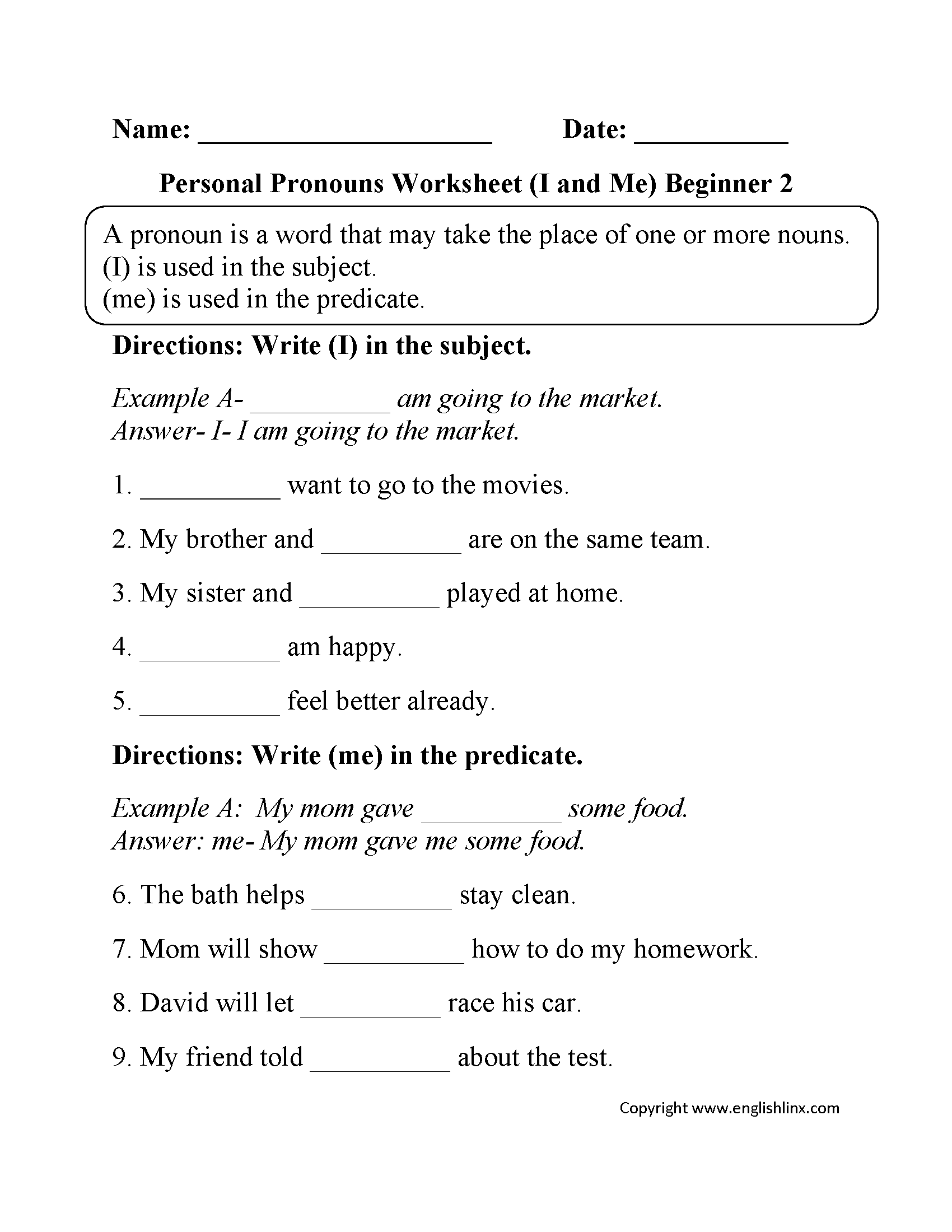 worksheet Esl Subject Pronouns Worksheet i and me personal pronouns worksheets part 2 beginner voice beginner