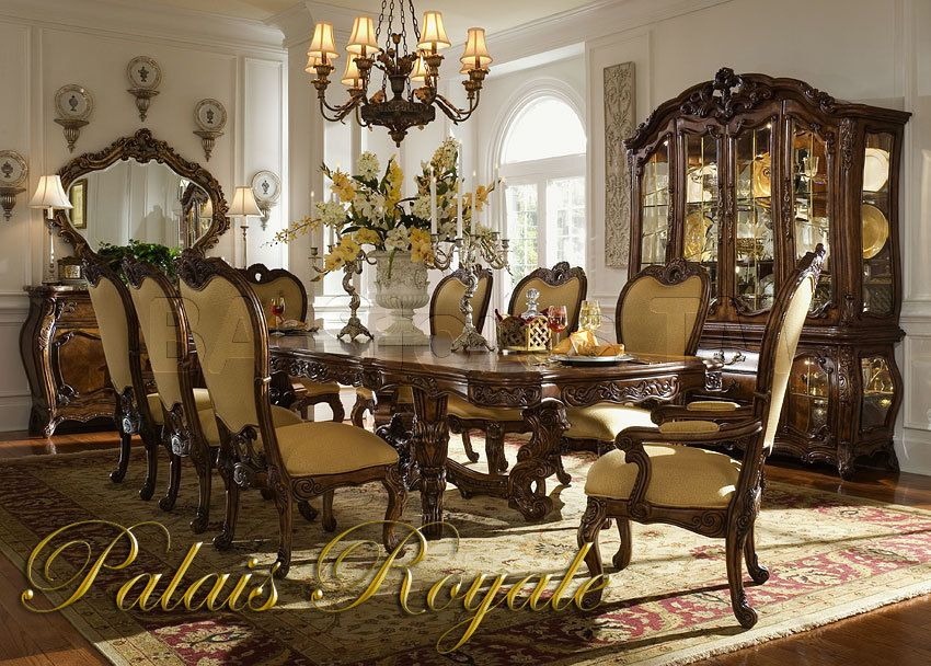 Palais Royale Dining Set in Cognac Finish (Table, Two Arm Chairs