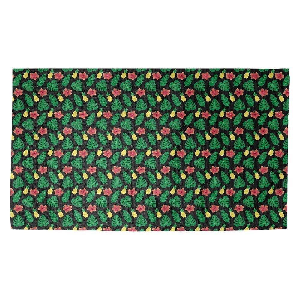 Porch & Den Darmel Tropical Pattern Dobby Rug (Black Non-Slip - 5' x 3')