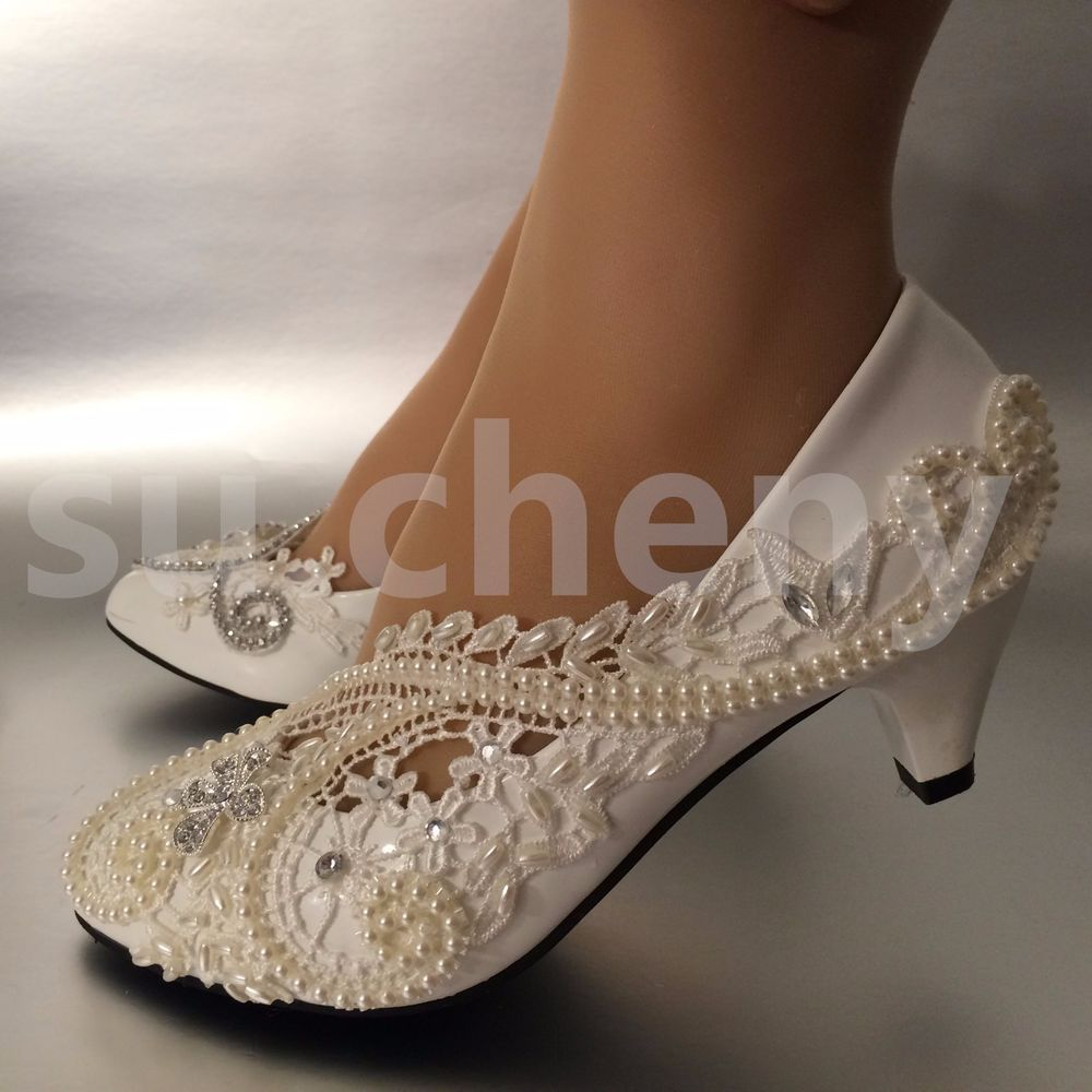 "7de5a615235e su.cheny 2"" White ivory pearls lace crystal Wedding shoes Bridal ..."