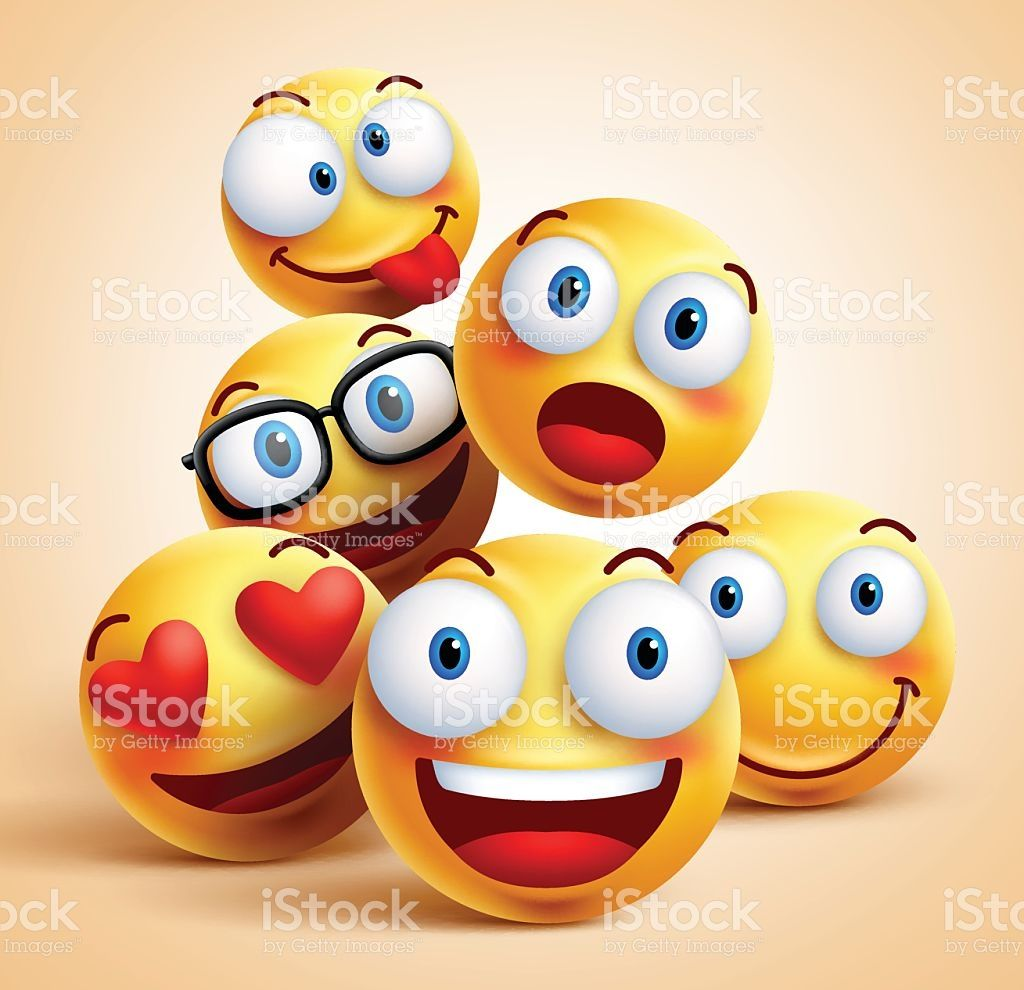 Smiley faces group of vector emoticon characters with funny facial ...