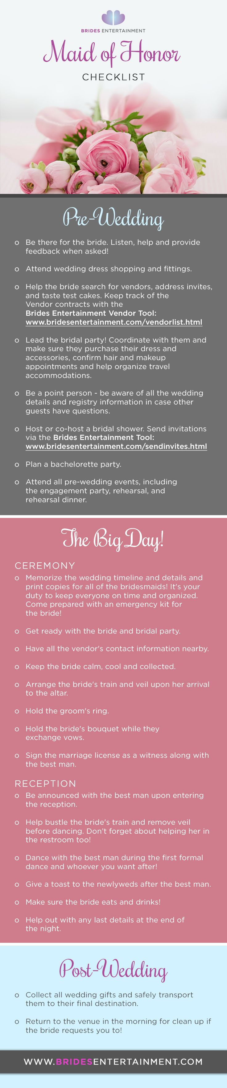 Brides Entertainment - Maid Of Honor Duties Checklist (Pre-Wedding ...
