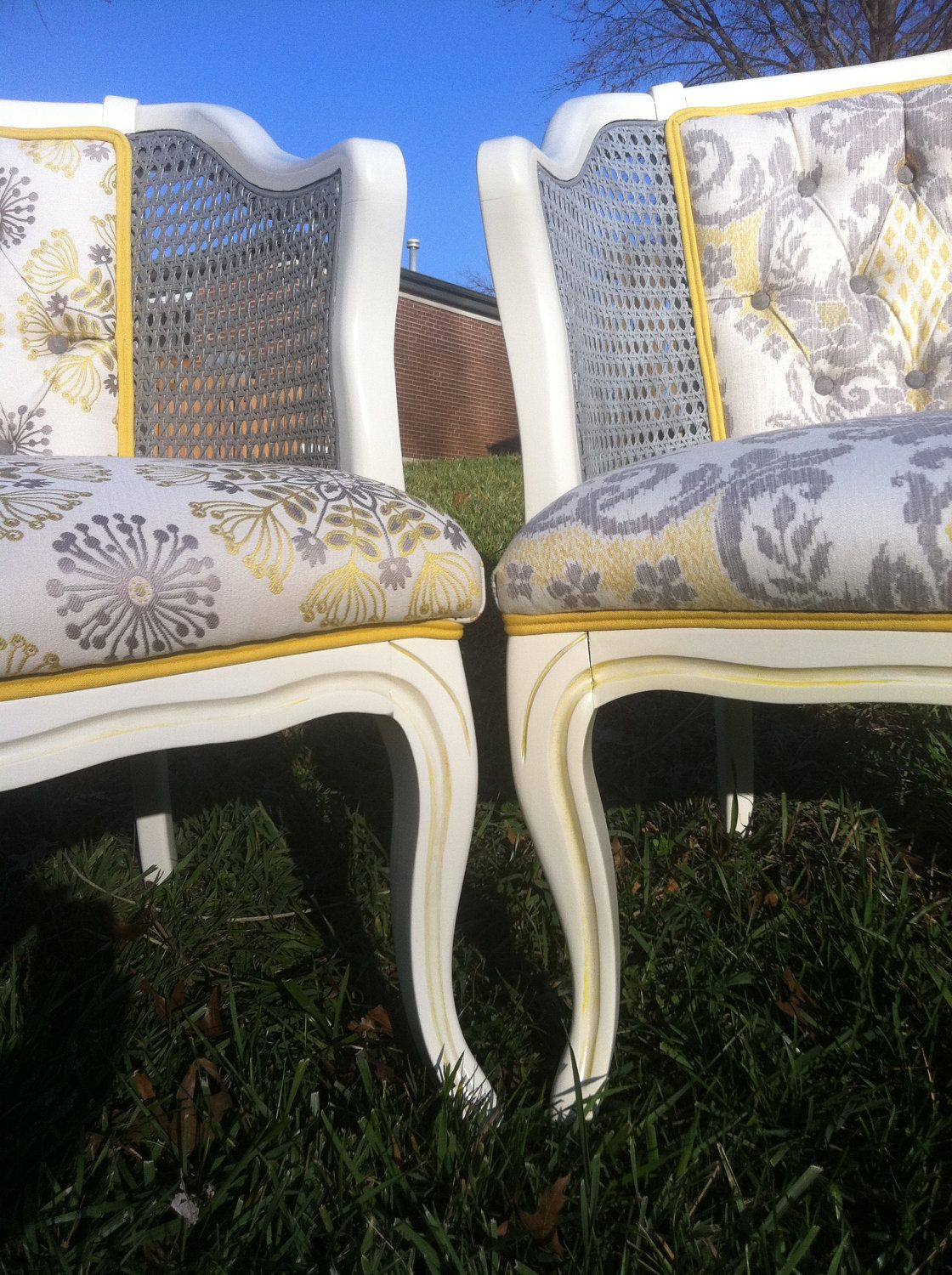 Vintage Pair of French Cane Chairs ON HOLD. Yellow trim is ...