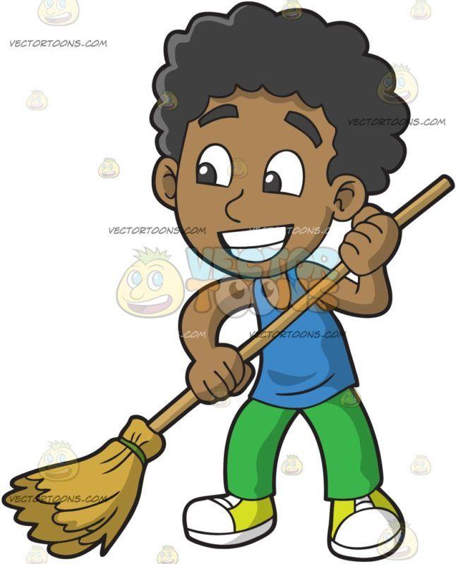 A Black Boy Sweeping The Floor Black Boys Cartoon People Kids Clipart