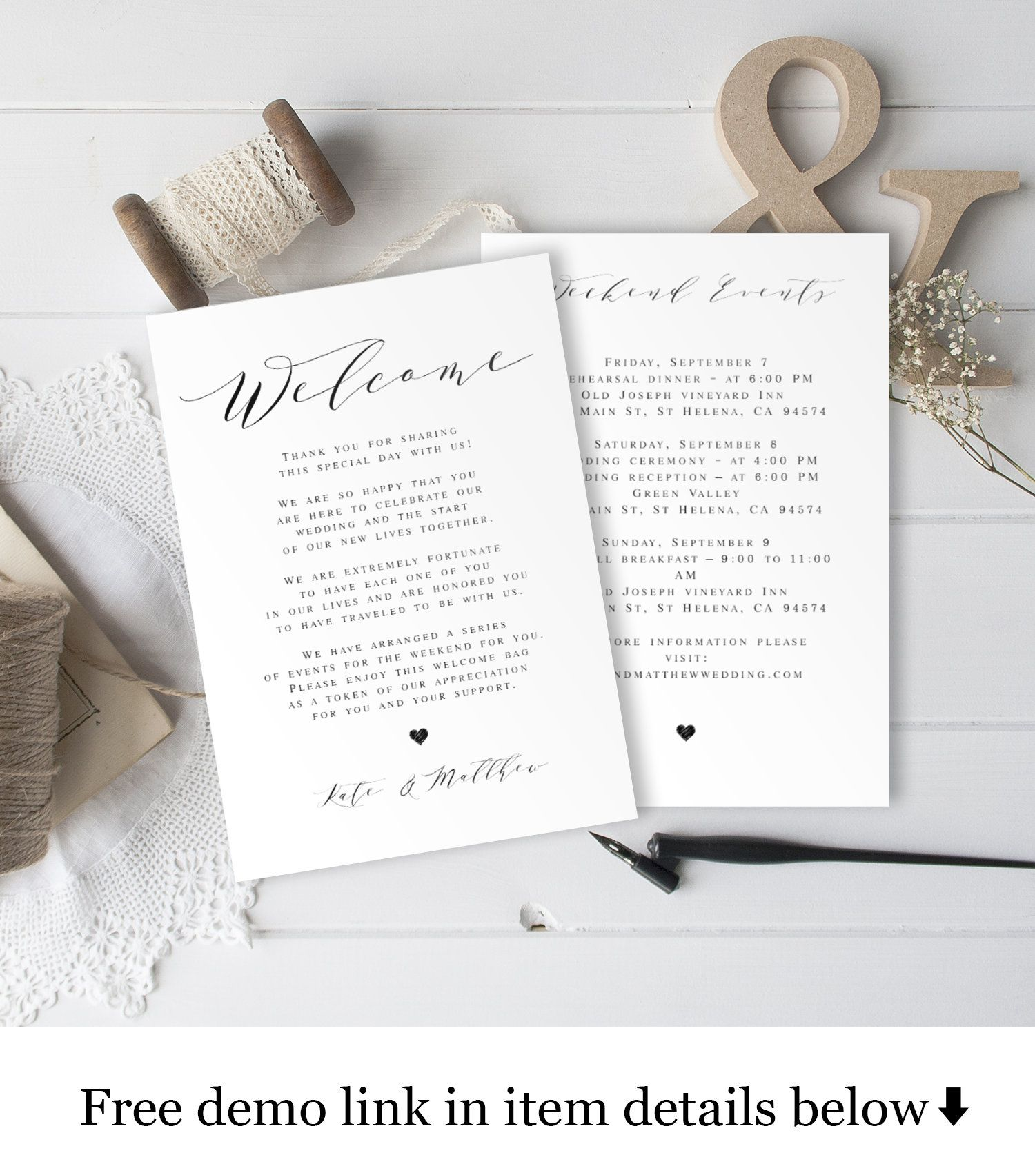 Welcome Bag Note Template Fully Editable Wedding Itinerary