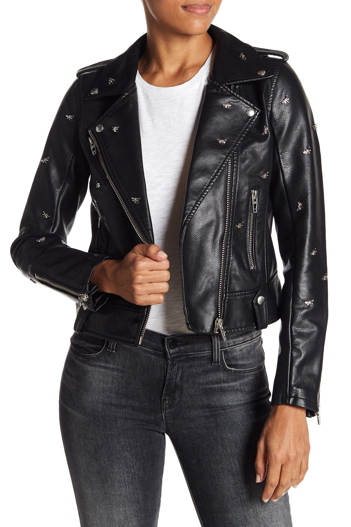BLANKNYC Denim Dragonfly Stud Moto Faux Leather Jacket