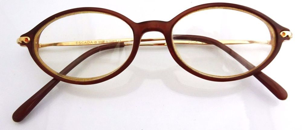 authentic escada eyeglasses e0145 brown and gold oval frames ladies glasses - Escada Frames