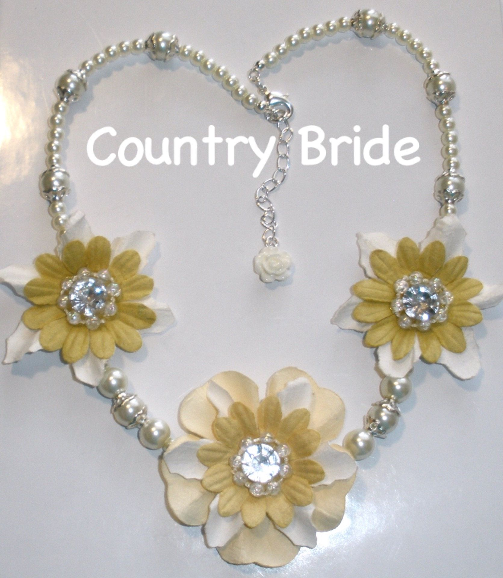 Country Bride Necklace Boho Chic Bride Necklace Ivory Pearl