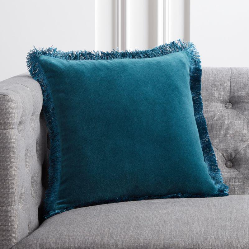 "16"" Bettie Teal Pillow with DownAlternative Insert"