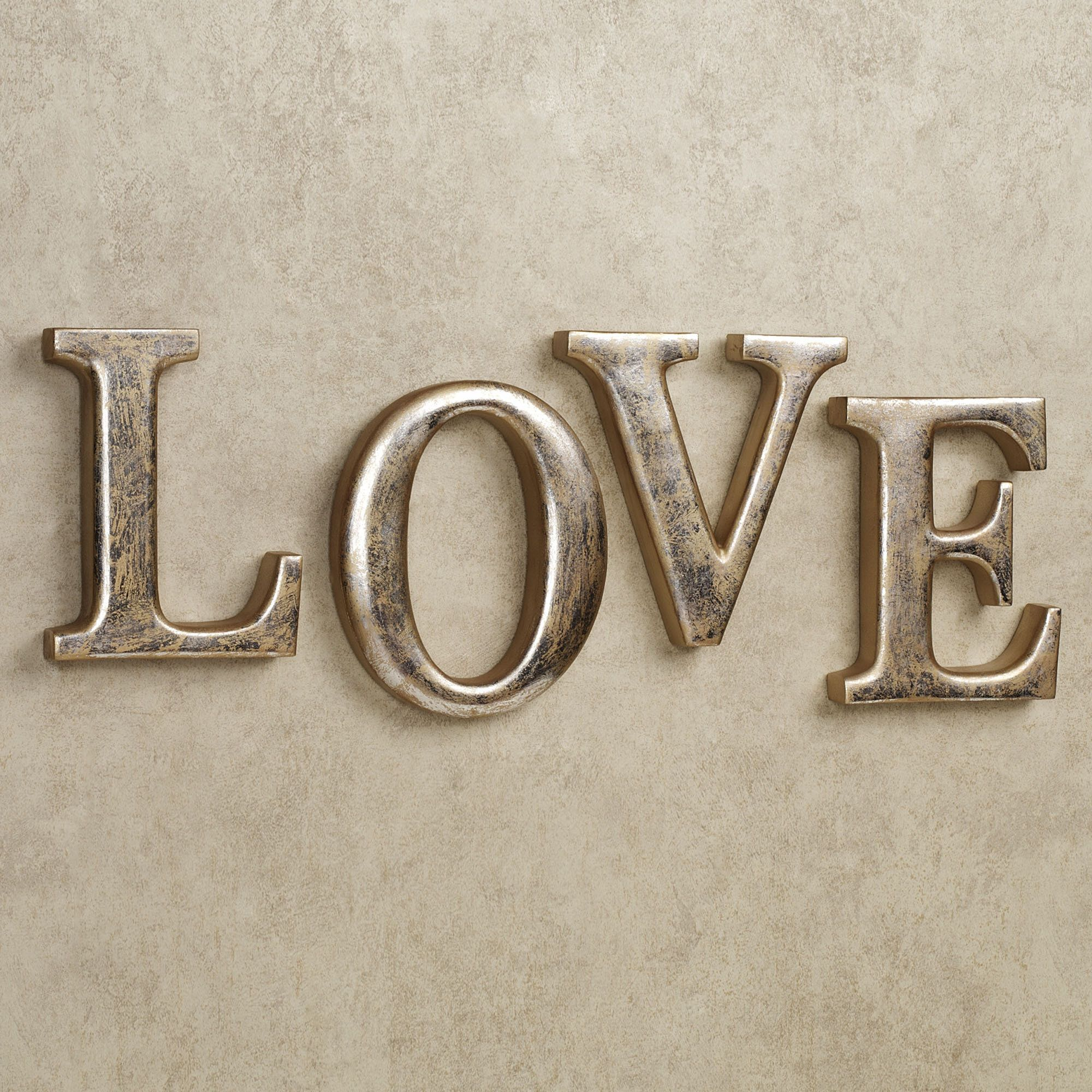 Silver And Gold Wall Art love letters wall word art set | wall word art, letter wall and