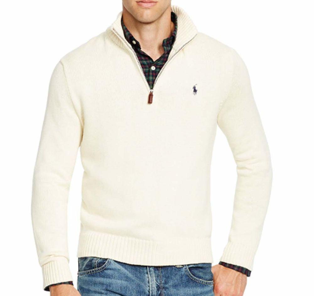 Polo Ralph Lauren  Half-Zip Soft Cotton Sweater NWT Blue Mens Size 2XL NWT
