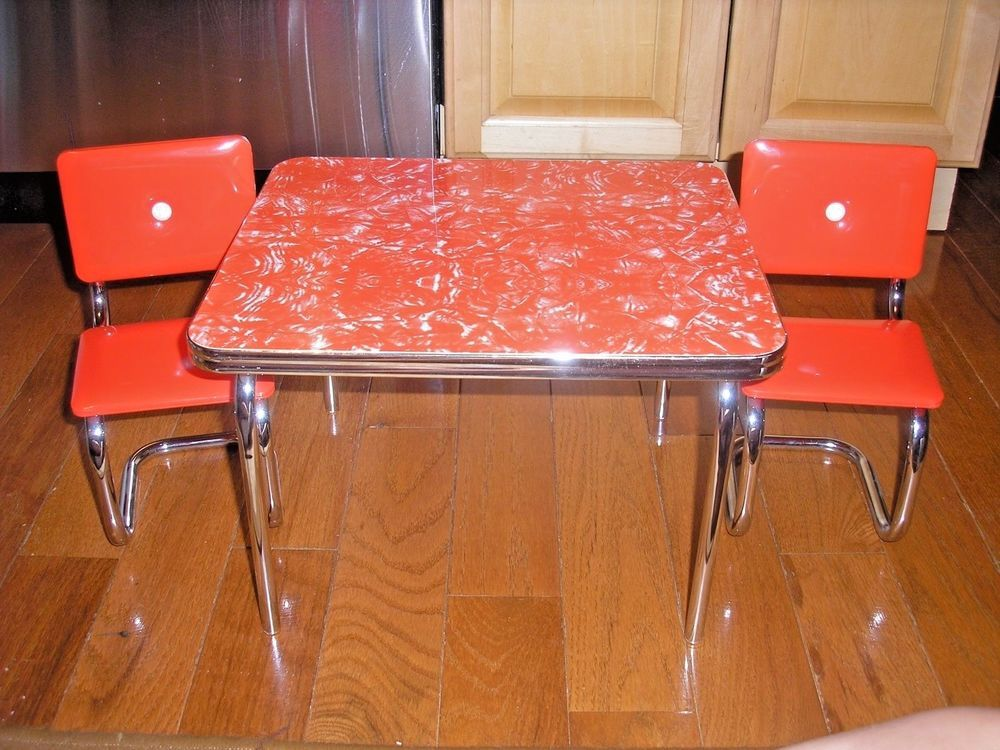 American Girl Doll Molly 1940's Chrome Kitchen Table & Chairs - RETIRED…