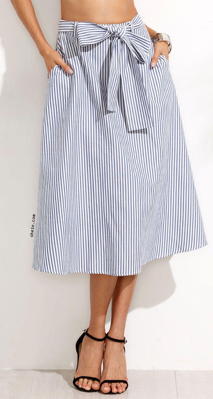 9fc16be49 Blue Striped Pocket Tie Waist Midi Skirt | Love to Wear | Skirts ...