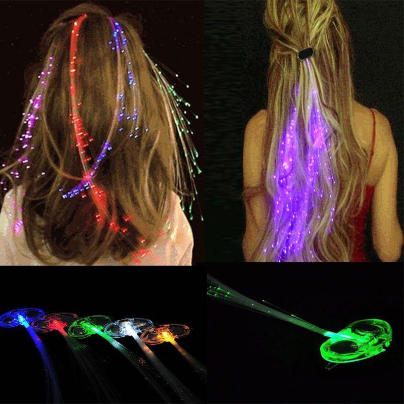 Light Fiber Optic Hair Extension For Womens Ladies Halloween Glow