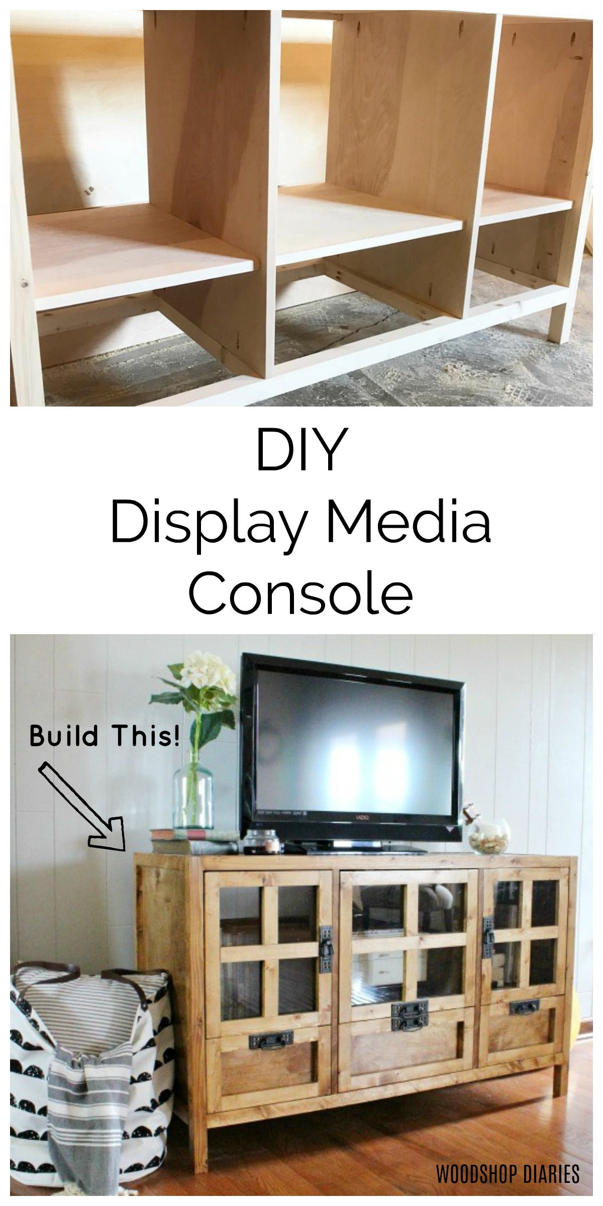 Diy Display Media Console Tv Stand With Glass Doors Diy Tv