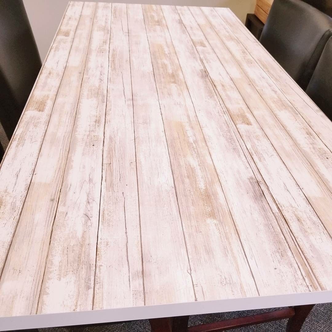 Shiplap Peel and stick wallpaper for the table tops from
