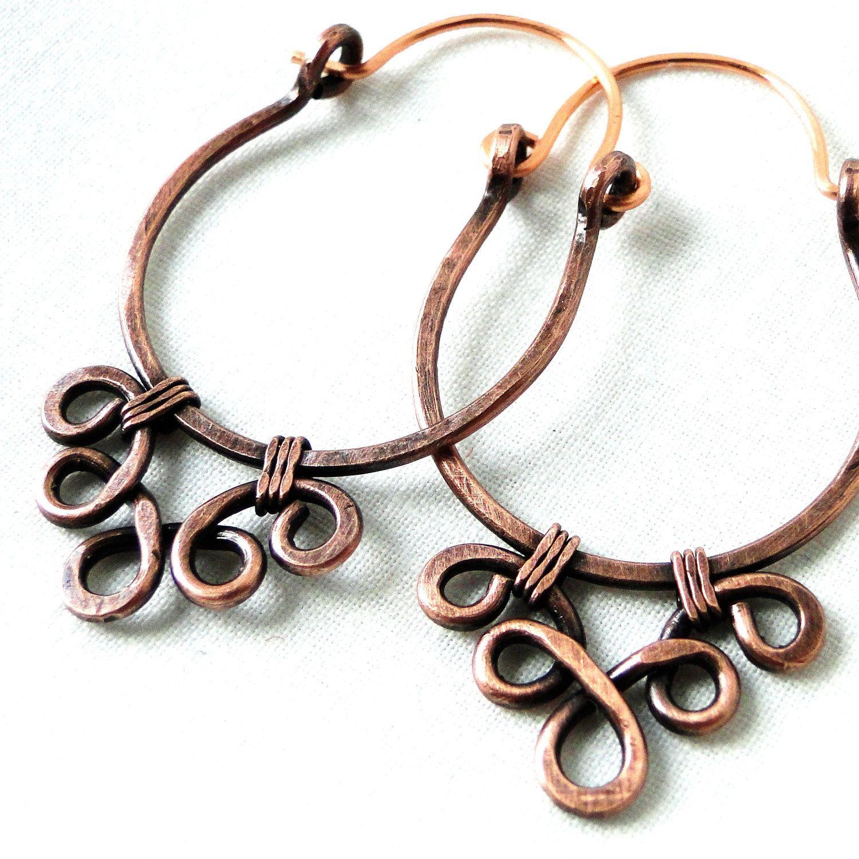 Handcrafted Hoop Earrings, Antiqued Copper Jewelry, Lacy Earrings ...