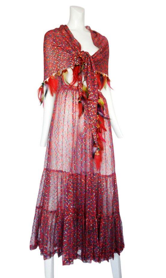 Vintage Yves Saint Laurent Chiffon Feathers Ensemble Resurrection Vintage Ysl 70 S Fashion Yves Saint Laurent Beautiful Dresses
